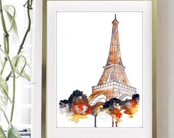 Fall in Paris,  Watercolor Painting Print  - Eiffel Tower home decor, paris wall art print