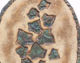 Ivy Ceramic Wall Hanging Clay Leaf Art Organic Rustic Home Decor Earthy Green Wall Art
