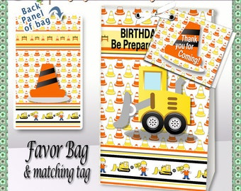 "Favor Bag, ""Construction Zone Party"" printable Party Favor, gift bag, gift tag, toppers, etsy instant download"