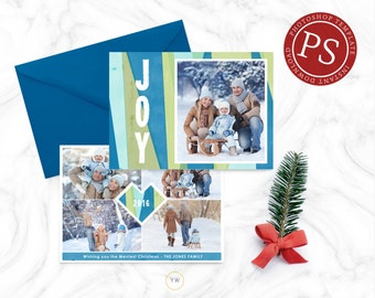 Holiday Christmas Photo Card Template - Photographer Photoshop Template - Christmas Card - Modern Holiday Card - Photo Card - SKU HC046
