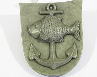vintage sculpture painting anchor fish