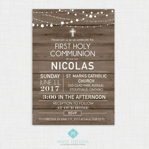 Rustic Wood Baptism Invitation- Boys Baptism Invitation - Baby Dedication, First Communion, Confirmation, Christening - Printable template