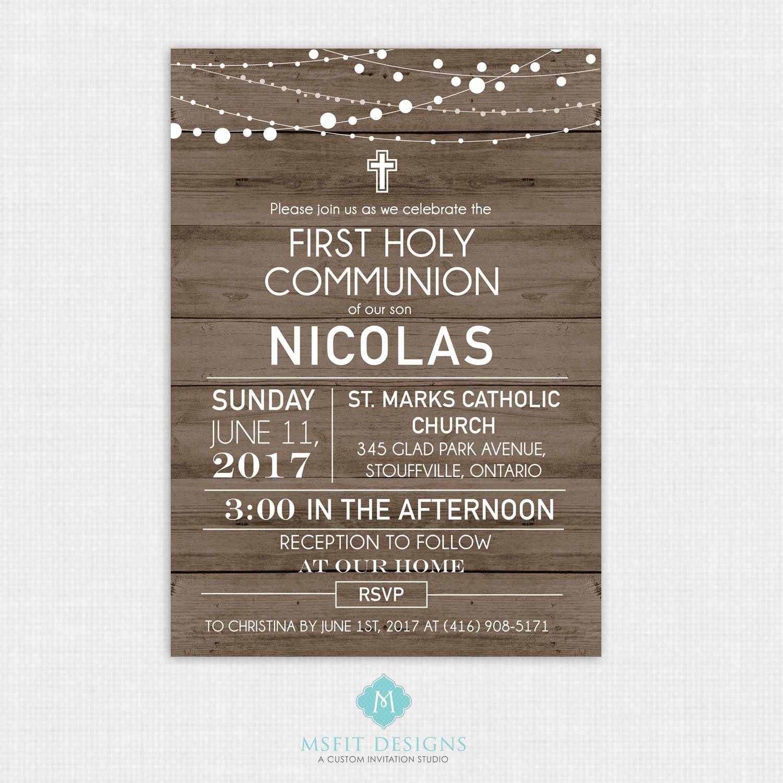 Rustic Wood Baptism Invitation- Boys Baptism Invitation - Baby ...