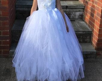 Full length white flower gir tutu dress