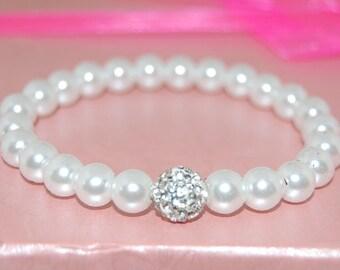 White Glass Pearls Bracelet,8mm Beads,Disco Ball Bracelet,Wedding White,Woman,Girl,Chic,Bridesmaid Jewelry,Wedding Bracelet,Party Bracelet