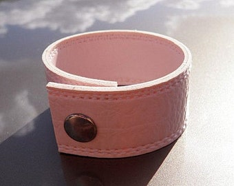 Leather Cuff Bracelet,  PINK repurposed leather- Breast Cancer Awareness (G2P246)