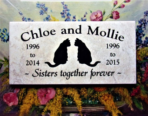Cat headstone 12x6 Durable Italian Porcelain. Maintenance free