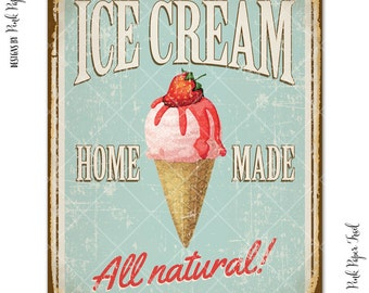 Vintage Ice Cream Sign, Party Decor, Ice Cream Social, Ice Cream Parlour Party, Creamery, Instant Download, Print Your Own
