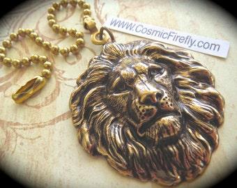 Big Lion Fan Pull Steampunk Ceiling Fan Pull Chain Antiqued Brass Metal Victorian Animal Fan Pull Brass Lion Head