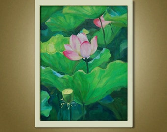 Lotus Oil Painting, Flower Painting, Canvas Art, Original Painting, Flower Art