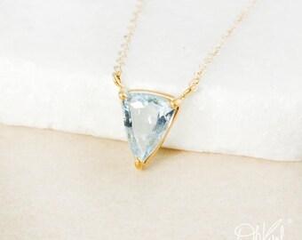 Blue Aquamarine Triangle Necklace - Choose Your Aquamarine - March Birthstone Necklace