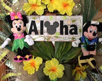 Mickey and Minnie Spring Summer Hawaiian Grapevine Wreath
