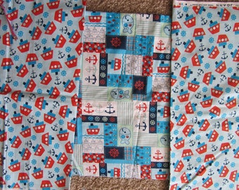 Three Nautical Boat/Sailing Cotton Fabric Remnants