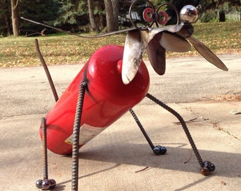 Fire extinguisher dog, recycled garden art, yard art, firefighter