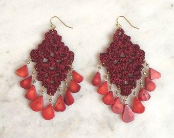 Dark red handmade crochet statement earrings, red natural coral semi-precious