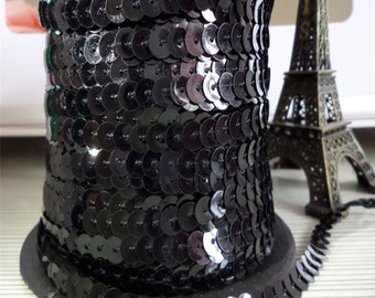 Black Sequin Trim, 6mm - 3 YDS