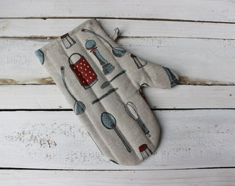 Kitchen glove with Kitchen Tools Linen Glove Mother's day gift for the cook, kitchen accessories with utensils, housewarming gift for cook