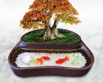 Plant Pot with 3D goldfish painting in resin - Ebony detail