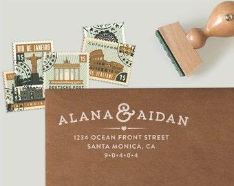 Custom Return Address Stamp for weddings, as housewarming gift or christmas gift in a modern hipster design