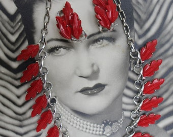 Circa 1950s / 1960s Thermoset Leaves Necklace and Earrings  - Demi Parure Set - Cool Cherry Red-Colored Leaves - Silver-tone