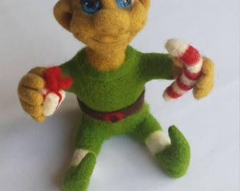 Handmade, needle felted CHRISTMAS ELF.