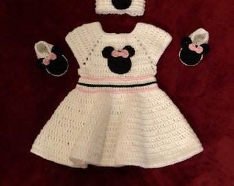 Crochet 6-12 Month Minnie Mouse White baby dress with booties and headband