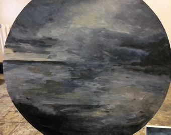 Seascape painting on circular board: 'Circular Seascape #1'