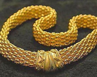 VINTAGE Rich gold-tone mesh link necklace with Egyptian inscribed magnetic clasp, C 70s