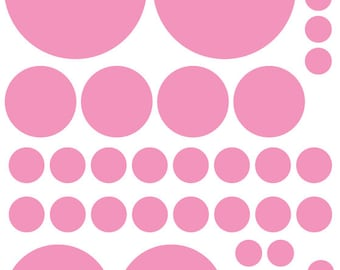 70 Soft Pink Vinyl Polka Dots Bedroom Wall Decals Stickers Teen Kids Baby Nursery Dorm Room Removable Custom Made Easy to Install