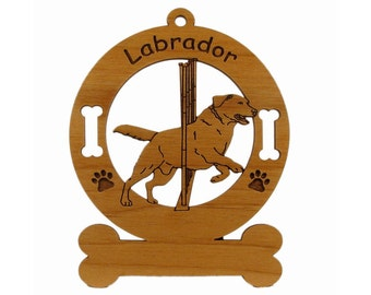 3486 Labrador and Weave Poles Personalized Wood Ornament