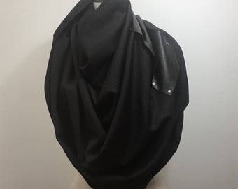 sale, Wool Scarf, Black wool , leather, Mother's Day Gifts, text, Spring Accessories, Fashion