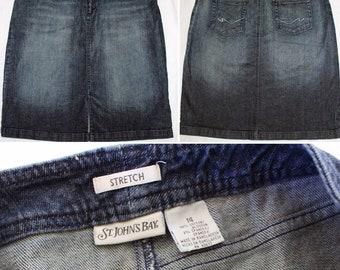 Vintage St Johns Bay Blue Jeans Skirt Knee Length Size 14