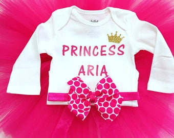 Newborn Pink Tutu Sets, Baby Girl Tutu Sets, Newborn Baby Girl Going Home Outfit, Girls Birthday Tutu Sets, Girls Personalized Tutu Sets