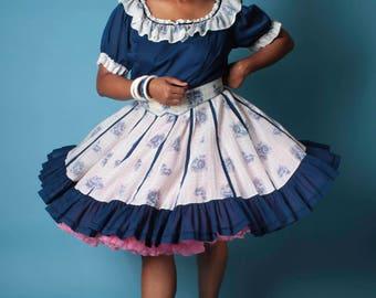 Vintage Lolita Dress // Plus Size Stripe and Floral Ruffle Swing Oktoberfest Dirndl Dress // Plus Size Dress (sz 1X 16 18)