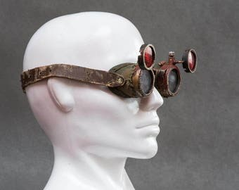 Handmade Goggles - Cyberpunk - Mad Max Googles - Rusty Goggles - Raw Goggles - Eyes Protection - Awesome Glasses - Round Goggles
