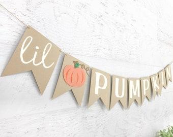 Pumpkin Baby Shower Banner - lil pumpkin banner - little pumpkin banner - little pumpkin birthday banner - little pumpkin baby shower banner
