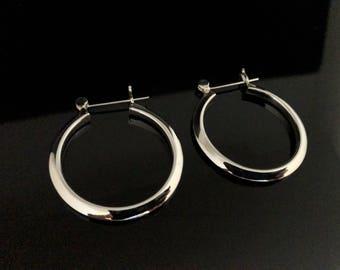Hinged Hoop Earrings - 925 Sterling Silver - Medium Sized Hoop Earrings -- Silver Hoops