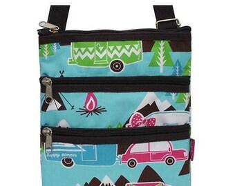 Happy Camper Messenger Bag - Personalized Bag - Tablet iPad Purse - Happy Camper Cross Body Bag - Fanny Pack - Hipster Bag