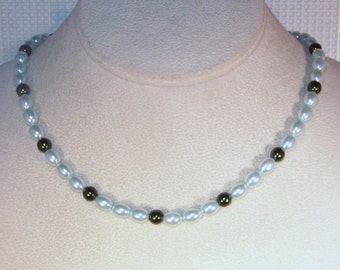 Glass Pearls Necklace -  Shown in Light Blue and Emerald - Made to Order - Any Color - Bridesmaids, Jr Bridesmaids