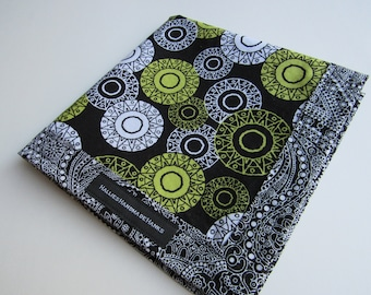 Handmade Hank Black White Lime Green Circles and Black and White Paisley EDC Hank Everyday Carry Pocket Dump Mens Handkerchief Gift for Him
