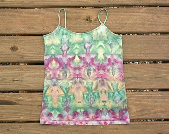 Pink Green Tie Dye Shirt - Tank Top - Cami Camisole -  Tie Dye Blouse - Size XL Juniors
