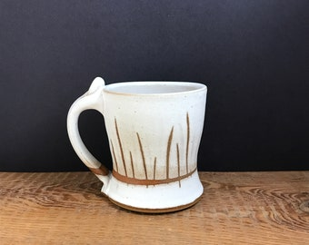 Stoneware mug matte white texture design