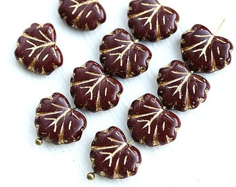 Maroon glass beads Brown Red maple leaf bead Czech glass leaves Golden inlays pressed leaf 11x13mm - 10Pc - 1136