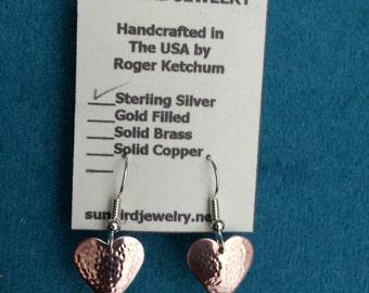 Hammered Copper Heart Shape Earrings