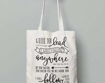 Gilmore Girls Tote Bag- Where You Lead, I Will Follow, Stars Hollow, Gilmore Girls Bag, Gilmore Girls Gift