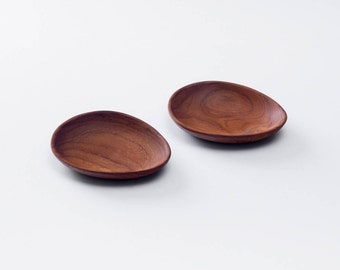 Teak Wood Condiment Dish, Egg Shape