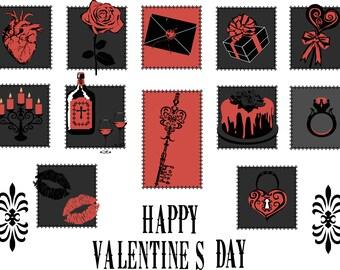 Gothic Valentine's Day Icons. Romantic Digital Gifts. Alternative Valentines Day Vectors. Anniversary Valentine.