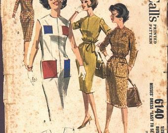 1961 Vintage McCall's Pattern 6140, Size 14, Misses' Dress