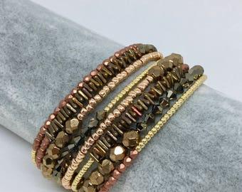 Gold memory wire Cuff Bracelet
