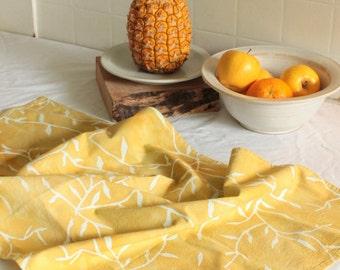 honey yellow vines tea towel